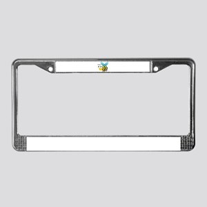 Happy Bee License Plate Frame