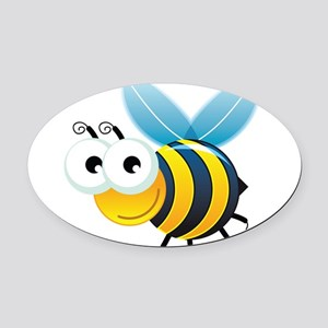Happy Bee Oval Car Magnet