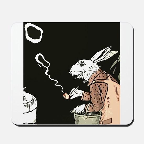 Pipe Smoking rabbit Mousepad