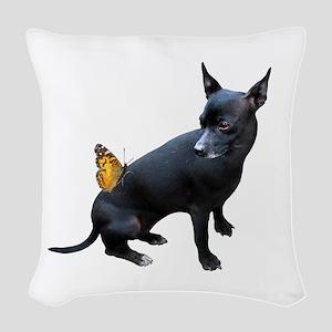 Dog Butterfly Woven Throw Pillow