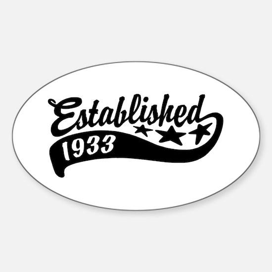 Established 1933 Sticker (Oval)