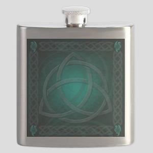 Teal Celtic Dragon Flask