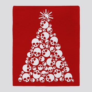 Gothic Skull Xmas Tree Throw Blanket