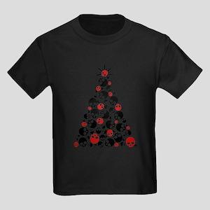 Gothic Skull Christmas Tree Kids Dark T-Shirt