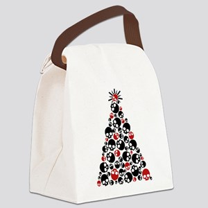 Gothic Skull Christmas Tree Canvas Lunch Bag