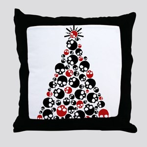 Gothic Skull Christmas Tree Throw Pillow