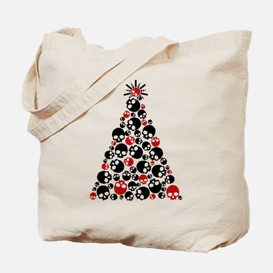 Gothic Skull Christmas Tree Tote Bag