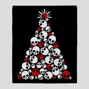 Gothic Skull Christmas Tree Throw Blanket