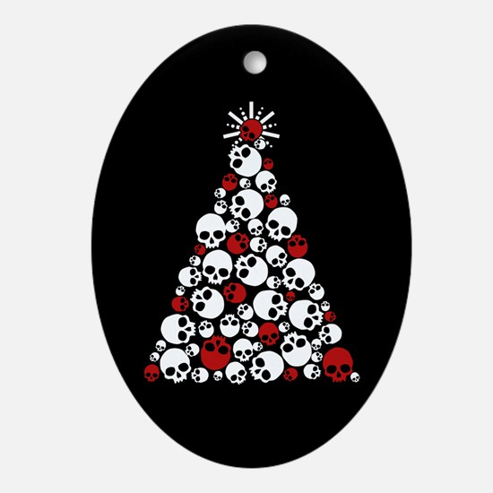 Gothic Skull Christmas Tree Ornament (Oval)