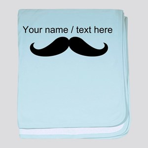 Personalized Mustache baby blanket