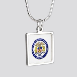 Merchant Marine Academy Silver Square Necklace