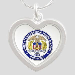 Merchant Marine Academy Silver Heart Necklace