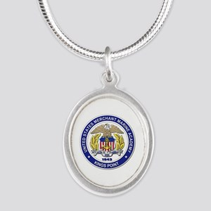 Merchant Marine Academy Silver Oval Necklace