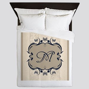 Taupe and Navy Blue Royal Medallion Monogram Queen