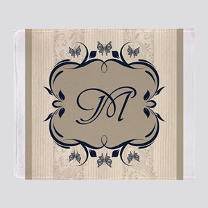 Taupe and Navy Blue Royal Medallion Monogram Throw