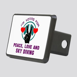 I am voting for Peace, Lov Rectangular Hitch Cover