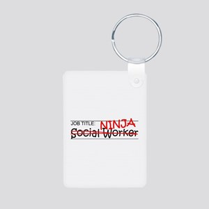 Job Ninja Social Worker Aluminum Photo Keychain