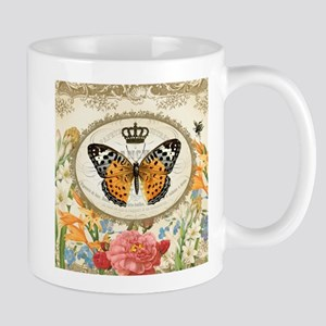Vintage French butterfly and flowers Mug
