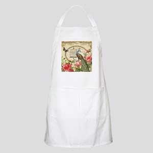 Vintage French Peacock and roses Apron
