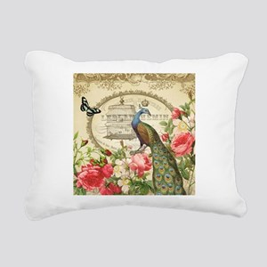 Vintage French Peacock and roses Rectangular Canva