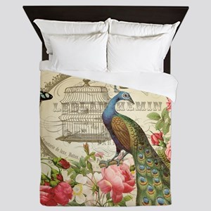 Vintage French Peacock and roses Queen Duvet