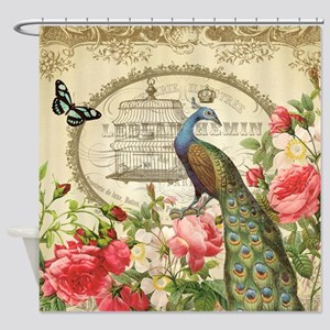 Vintage French Peacock and roses Shower Curtain