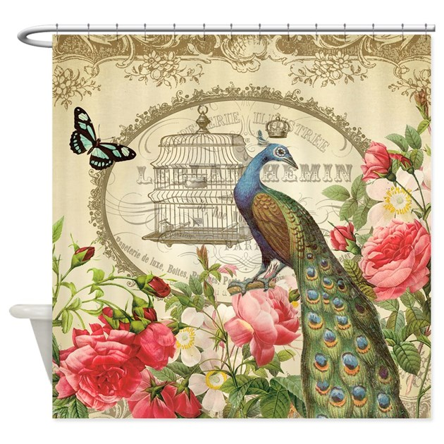 Vintage French Peacock And Roses Shower Curtain By DesignsbyHeatherMyers1
