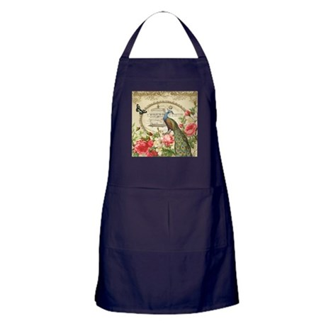 Vintage French Peacock and roses Apron (dark)