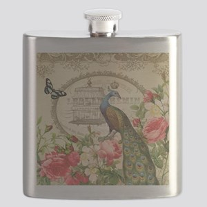 Vintage French Peacock and roses Flask