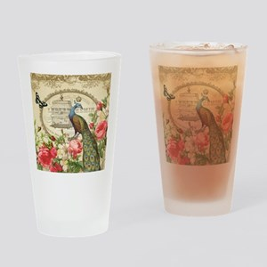 Vintage French Peacock and roses Drinking Glass