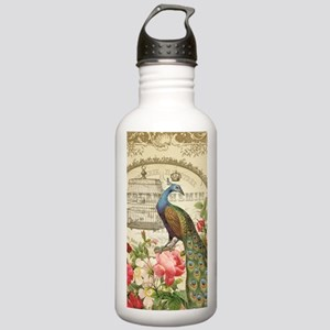 Vintage French Peacock and roses Water Bottle
