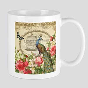 Vintage French Peacock and roses Mug