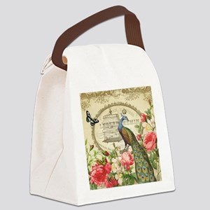Vintage French Peacock and roses Canvas Lunch Bag