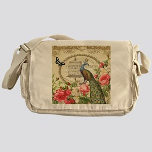 Vintage French Peacock and roses Messenger Bag