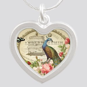 Vintage French Peacock and roses Necklaces