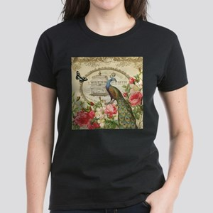 Vintage French Peacock and roses T-Shirt