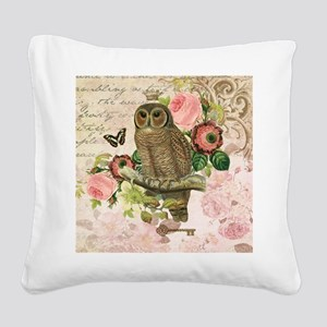 Vintage French shabby chic owl Square Canvas Pillo