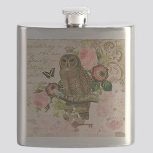 Vintage French shabby chic owl Flask