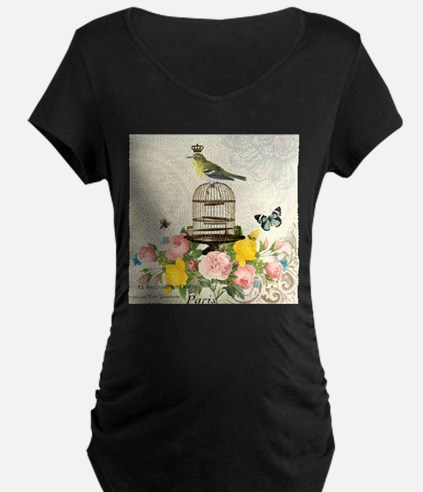 Vintage French birdcage and bird Maternity T-Shirt