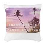 Enjoy little things Woven Throw Pillow