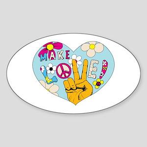 Mod Sixties Make Love Sticker (Oval)