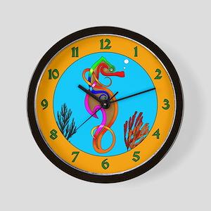 Psychedelic Seahorse Wall Clock