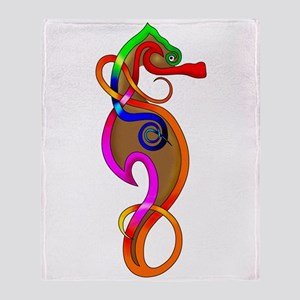 Psychedelic Seahorse Throw Blanket