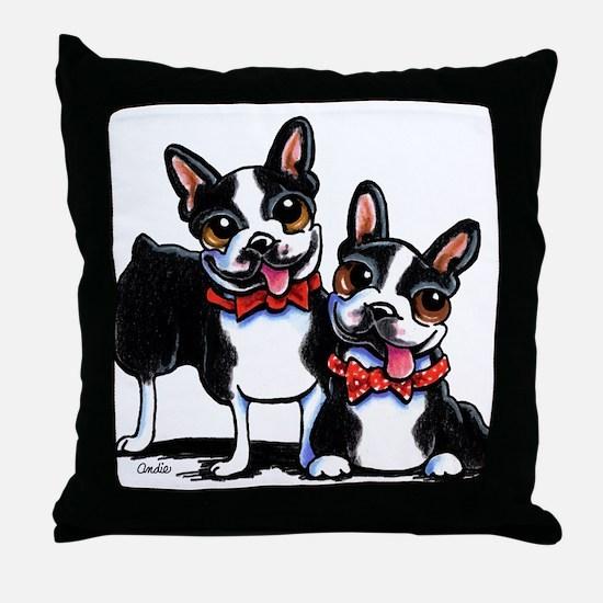 Bowtie Boston Terriers Throw Pillow