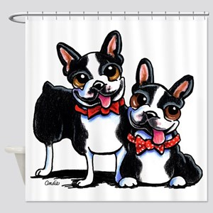 Bowtie Boston Terriers Shower Curtain