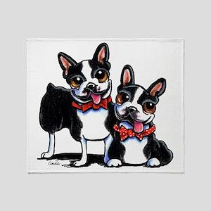 Bowtie Boston Terriers Throw Blanket