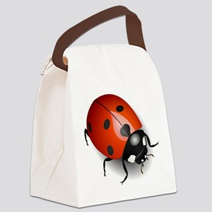 Shiny Ladybug Canvas Lunch Bag