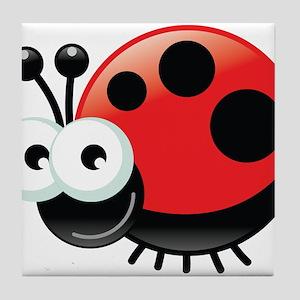 Happy Ladybug Tile Coaster