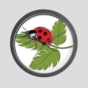 Ladybug on Leaf Wall Clock