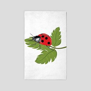 Ladybug on Leaf 3'x5' Area Rug